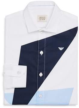 Armani Junior Boys' Geo Color-Block Dress Shirt - Big Kid
