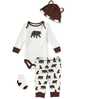 Starting Out Baby Boys Newborn-9 Months Bear-Print 4-Piece Layette Set