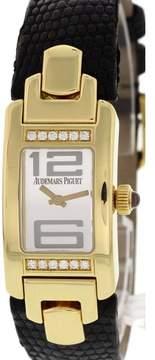 Audemars Piguet Promesse E86280 18K Yellow Gold & Leather Silver Dial Quartz 18mm Womens Watch