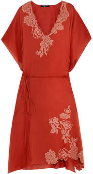 Carine Gilson Lace-trimmed Silk-satin Kaftan - Papaya