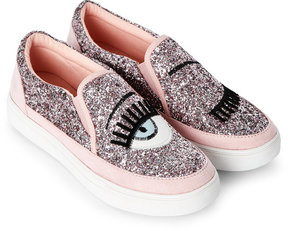 Wild Diva Pink Cala Glitter Slip On Sneakers