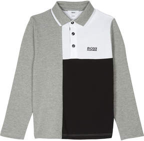 BOSS Block design long-sleeved cotton polo top 4-16 years