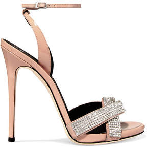 Giuseppe Zanotti Suede-trimmed Crystal-embellished Patent-leather Sandals - Blush