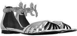 Roberto Cavalli Women's Silver Leather Sandals.