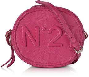 N°21 Fuchsia Leather Oval Crossbody Bag w/Embossed Logo