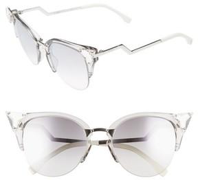 Women's Fendi 52Mm Crystal Tip Cat Eye Sunglasses - Crystal/ Palladium