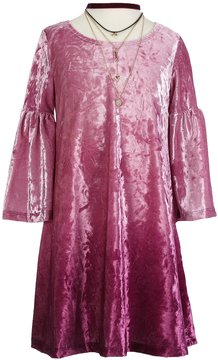 My Michelle Big Girls 7-16 Ombre Velvet A-Line Dress