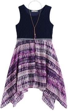 Knitworks Girls 7-16 & Plus Size Crochet Sharkbite Hem Dress with Necklace