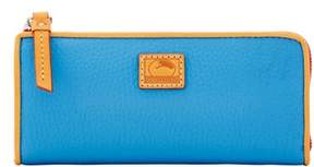 Dooney & Bourke Patterson Leather Zip Clutch Wallet - AZURE - STYLE