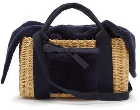 Muun Manon Shearling And Woven Straw Bag - Womens - Navy