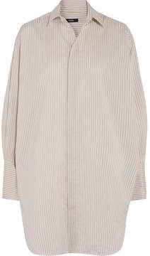 Bassike Oversized Striped Cotton And Silk-blend Shirt - Beige