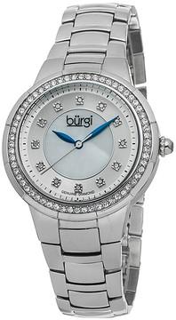 Burgi Silver-tone Steel Mother of Pearl Diamond Dial Ladies Watch