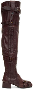 Prada Burgundy Buckle Over-the-Knee Boots