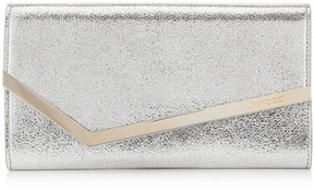 Jimmy Choo EMMIE Champagne Glitter Leather Clutch Bag