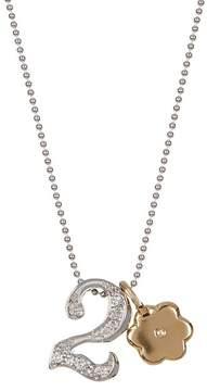 Alex Woo 14K White Gold Little Number '2' Diamond Pendant Necklace - 0.06 ctw