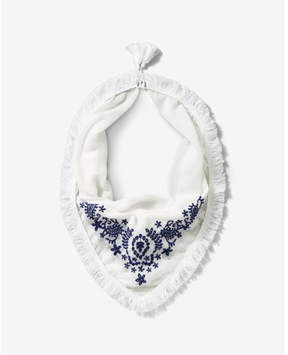 Express fringe embroidered neckerchief
