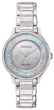 Citizen EM0380-81N Silver/Mother of Pearl Analog Eco-Drive Women's Watch