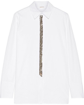 ADAM by Adam Lippes Crystal-embellished Cotton-poplin Shirt - White