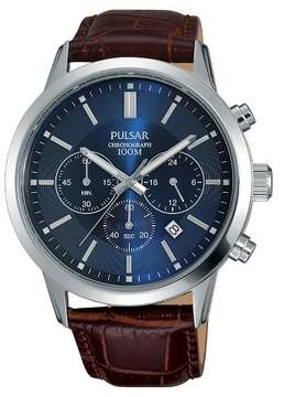 Pulsar Men's Chronograph - Brown Leather Strap and Blue Dial - PT3789X