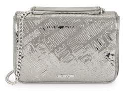 Love Moschino Embossed Logo Metallic Box Shoulder Bag