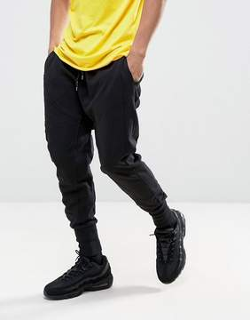 New Look Drop Crotch Paneled Jogger In Black
