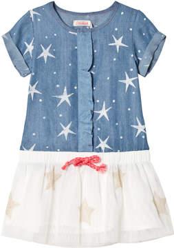 Billieblush Blue Star Print and Tulle Skirt Dress