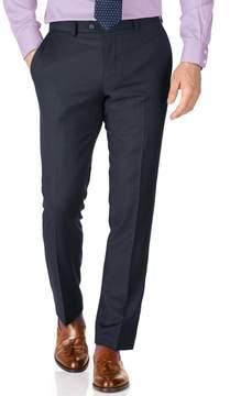 Charles Tyrwhitt Blue Slim Fit Sharkskin Travel Suit Wool Pants Size W42 L32
