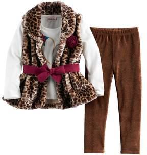 Little Lass Girls 4-6x Leopard Faux Fur Vest