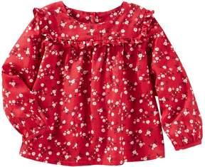 Osh Kosh Oshkosh Bgosh Baby Girl Ruffled Floral Twill Top