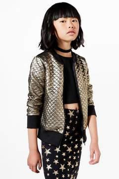 boohoo Girls Metallic Quilted Bomber Jacket