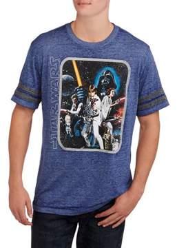 Star Wars Movies & TV sleeve stripe Big Men's group shot graphic tee, 2xl