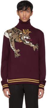 Dolce & Gabbana Burgundy Royal Leopard Turtleneck