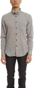 Naked & Famous Denim Crinkle Horizontal Stripes Slim Shirt