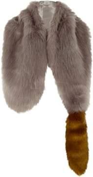 River Island Womens Grey faux fur fox tail shawl scarf