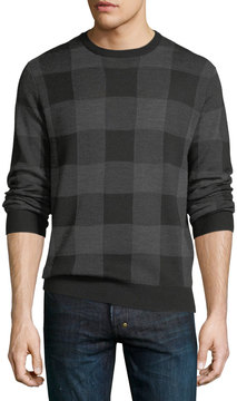 Neiman Marcus Two-Tone Plaid Wool-Blend Sweater