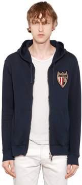 Balmain Hooded Cotton Jersey Sweatshirt W/ Patch
