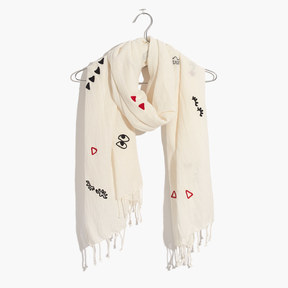 Madewell Embroidered Making Faces Scarf
