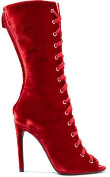 Giambattista Valli Lace-up Velvet Boots - Red