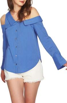 1 STATE 1.STATE Mixed Stripe One-Shoulder Top