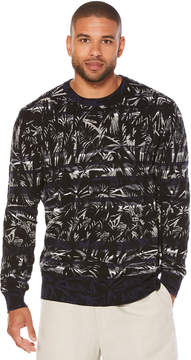 Cubavera 100% Cotton Striped Sweater With Tropical Print