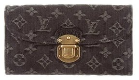 Louis Vuitton Monogram Denim Amelia Wallet - GREY - STYLE