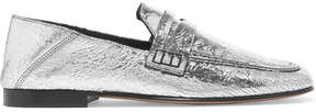 Isabel Marant Fezzy Collapsible-heel Metallic Cracked-leather Loafers - Silver