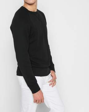 7 For All Mankind Reverse Side Panel Crewneck Sweatshirt with Destruction in Vintage Black