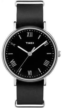 Timex Men's Southview 41 Black/Silver-Tone Watch, Black Leather Strap