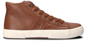 Ralph Lauren Men's Brown Leather Hi Top Sneakers.