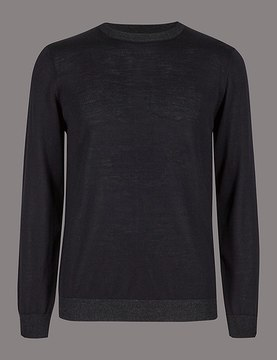 Marks and Spencer Pure Merino Wool Crew Neck Slim Fit Jumper