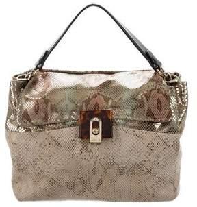 Lanvin Leather-Trimmed Embossed Bag