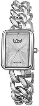 Burgi Silver-Tone Brass Silver-tone Diamond Dial Ladies Watch