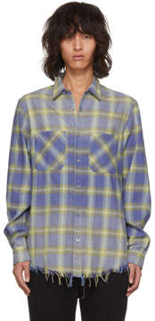 Amiri Yellow and Blue Faded Plaid Shirt