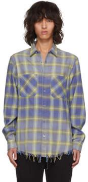 Amiri Yellow and Blue Faded Plaid Shirt